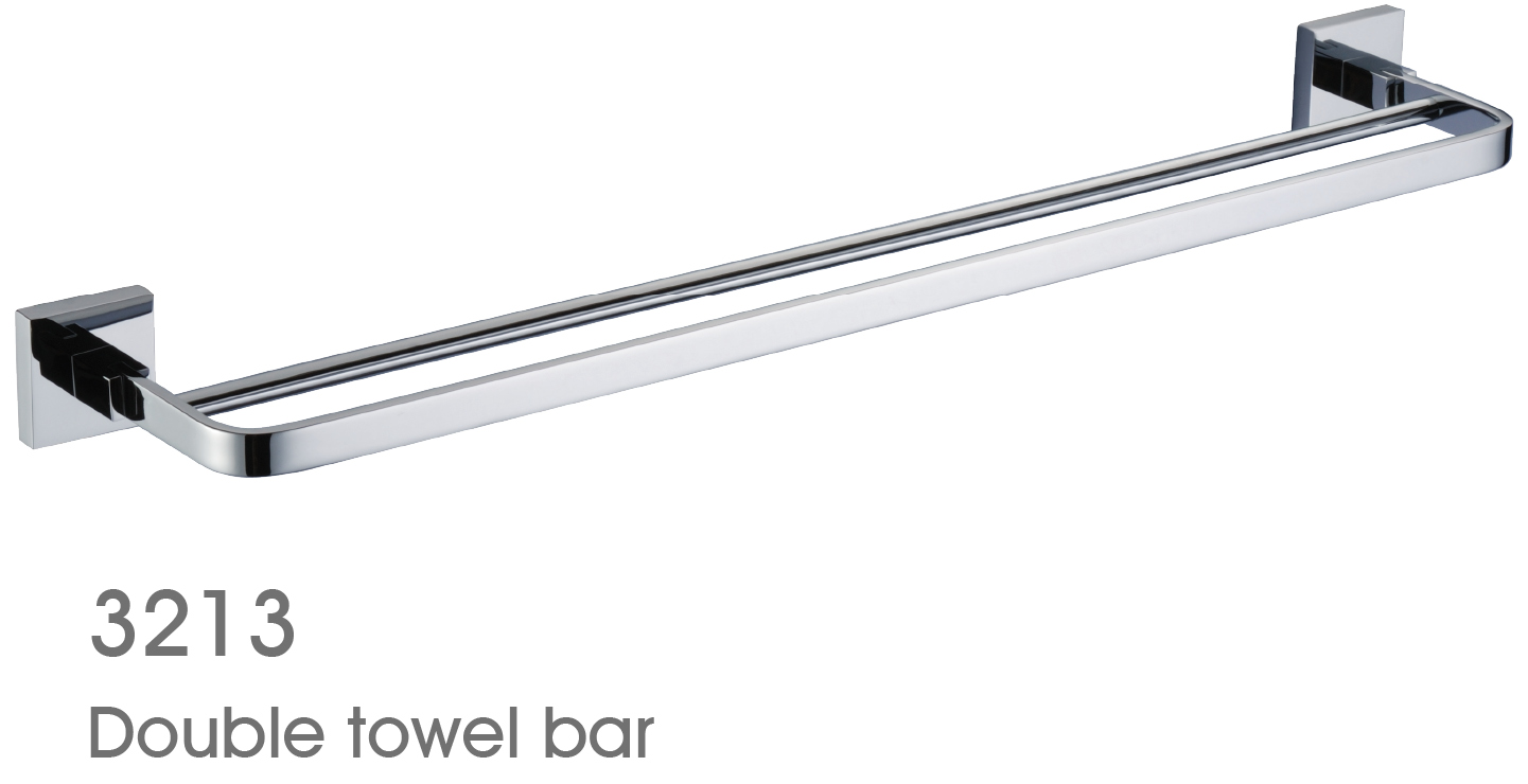 New Design Exquisite Decorative Bathroom Accessories Solid Brass Double Towel Bar