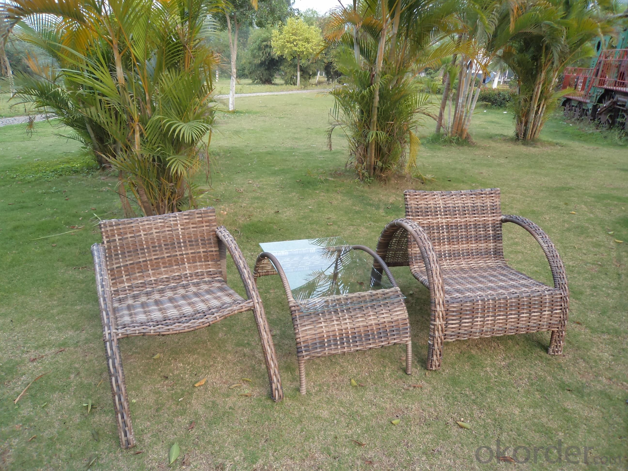 Rattan Aluminum Shelves Outdoor Garden Furniture Two Chair And A Tea Table