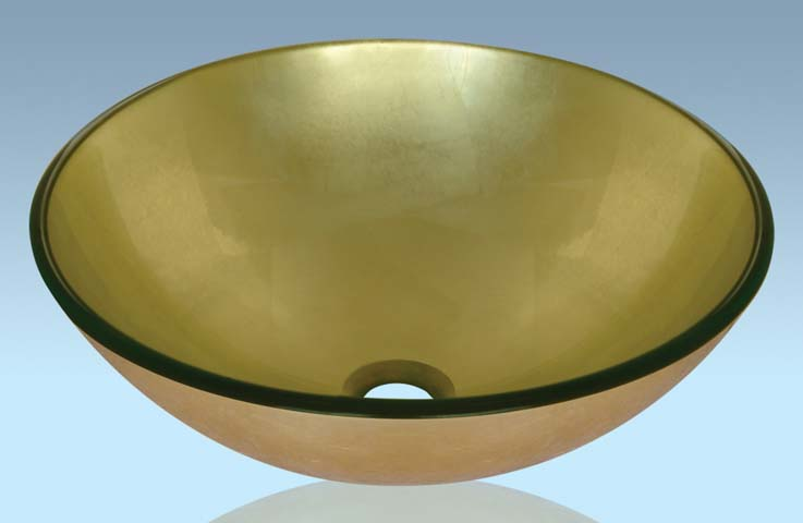Unique Design Hot Selling Bathroom Product Tempered glass Light Yellow Washbasin