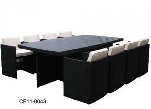 Classical Colour Modern Leisure Rattan Outdoor Garden Furniture Can Be Superimposed One Rectangle Table Eight Chairs