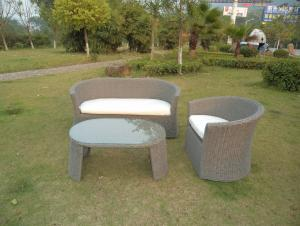 Rattan Aluminum Shelves Outdoor Garden Furniture One Double Sofa and One Single Sofa And A Tea Table