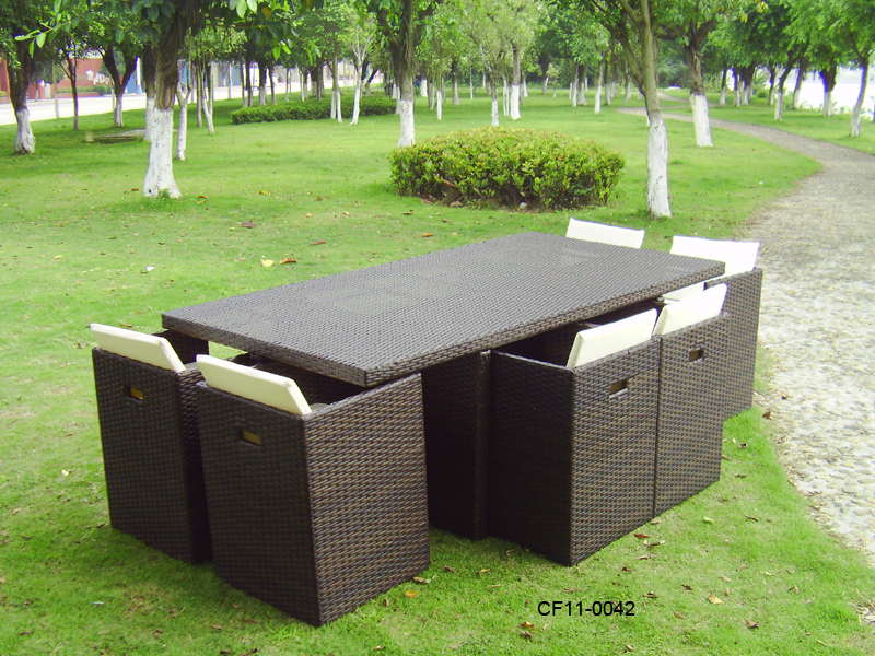 Classical Modern Leisure Rattan Outdoor Garden Furniture Can Be Superimposed One Rectangle Table Eight Chairs