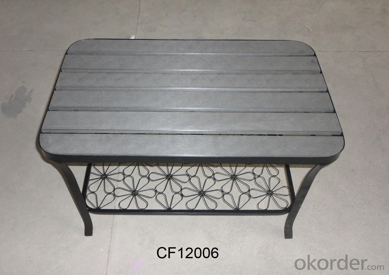 Classical Outdoor Furniture Iron and Wood Plastic Board Rectangle Table