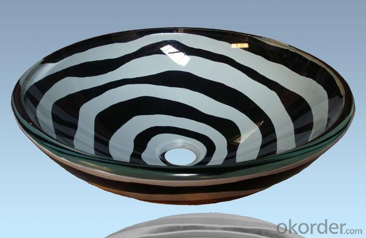 Hot Selling New Design Bathroom Product Tempered glass Zebra Stripes Washbasin