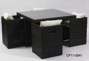 Classical Modern Leisure Rattan Outdoor Garden Furniture Can Be Superimposed One Square Table Four Chairs