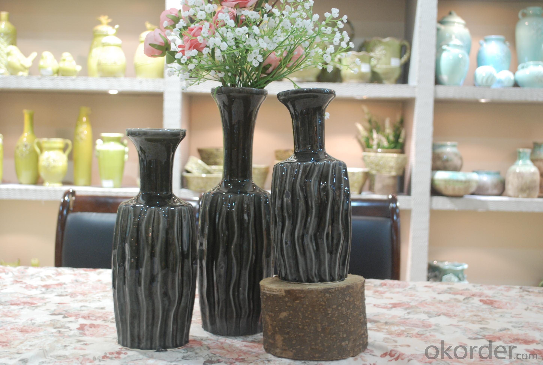 Hot Selling Fashion Home Décor Ceramic Black Vertical Stripes Flower Vase L