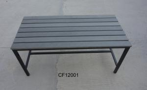 Gray Outdoor Iron and Wood Plastic Board Rectangle Children Table