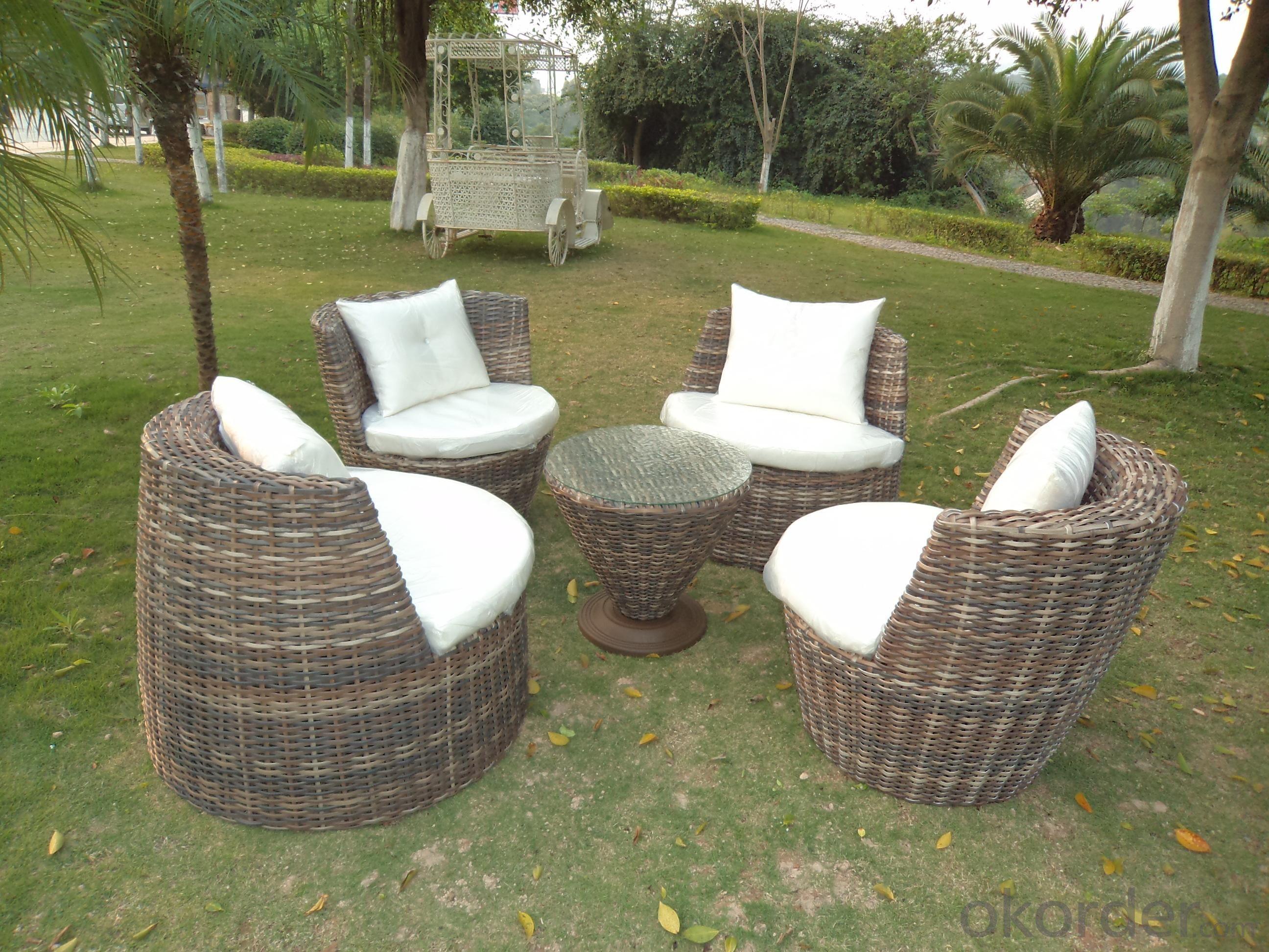 Rattan Iron Shelves Outdoor Garden Furniture Four Sofa And A Tea Table
