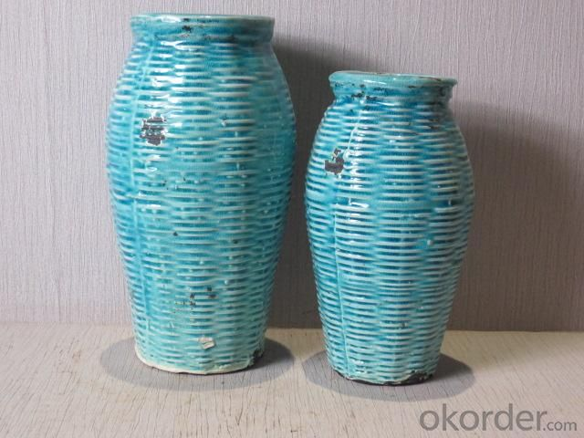 Hot Selling New Design Home Decorative Ceramic Light Blue Weaving Style Flower Vase L