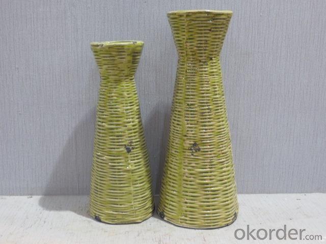 New Design Hot Selling Home Decorative Ceramic Light Color Flower Vase L