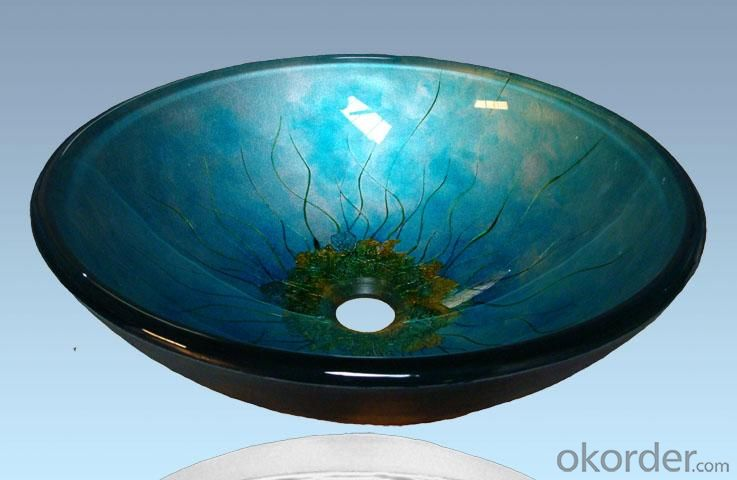 Hot Selling New Design Bathroom Product Tempered glass Ancient Blue Washbasin