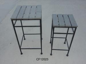 Outdoor Iron and Wood Plastic Board 2/S Square Plant Stand
