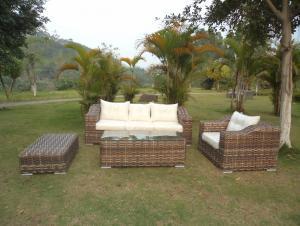 Rattan Iron Shelves Outdoor Garden Furniture One Single Sofa One Long Sofa One ottoman And A Tea Table