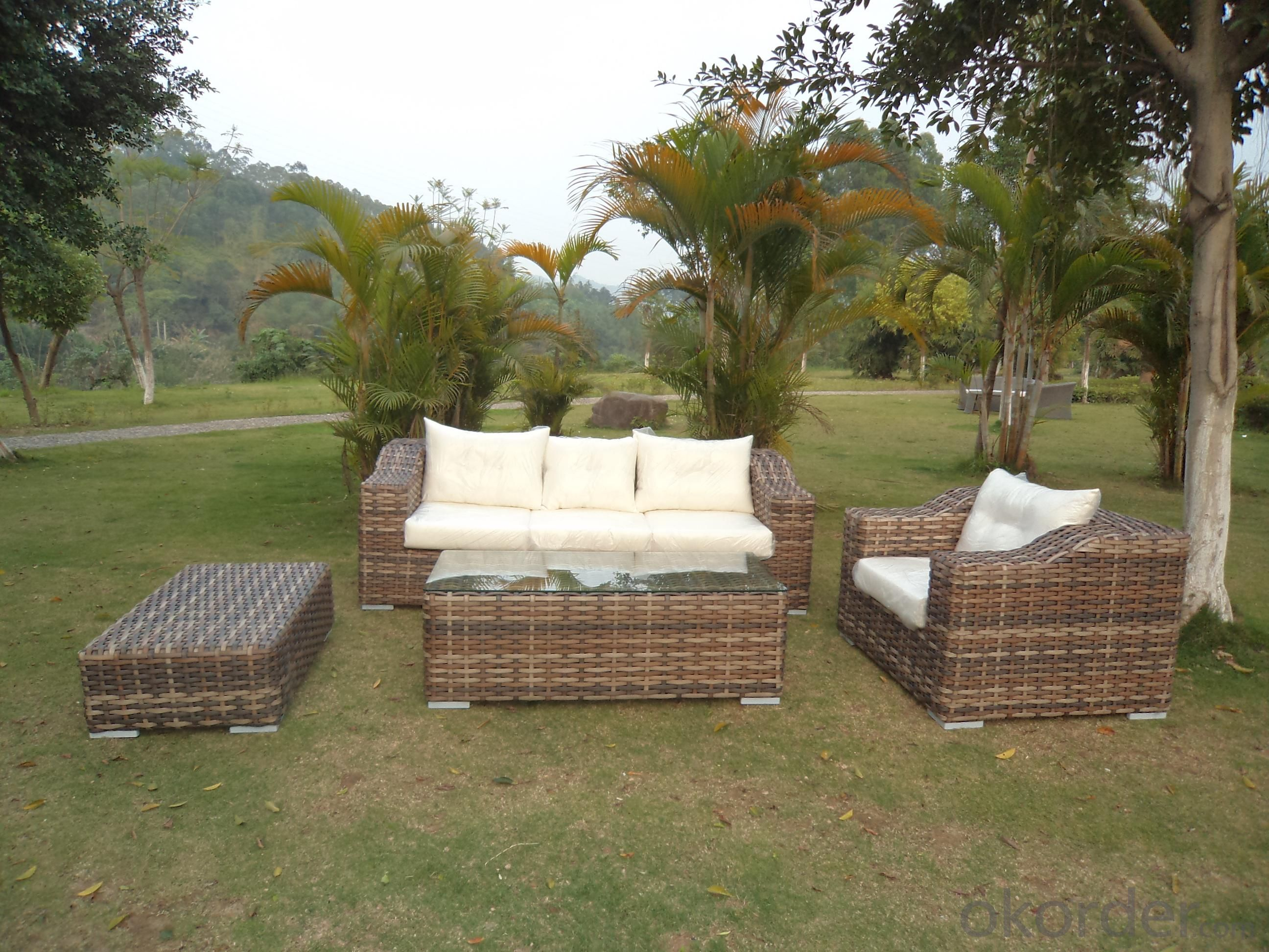 Rattan Iron Shelves Outdoor Garden Furniture One Single Sofa One Long Sofa One ottoman And A Tea Table