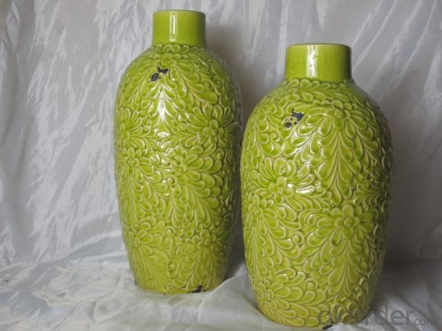 Hot Selling Fashion Home Décor Ceramic Antique Chrysanthemum Pattern Flower Jar L