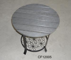 Classical Outdoor Furniture Iron and Wood Plastic Board Round Table