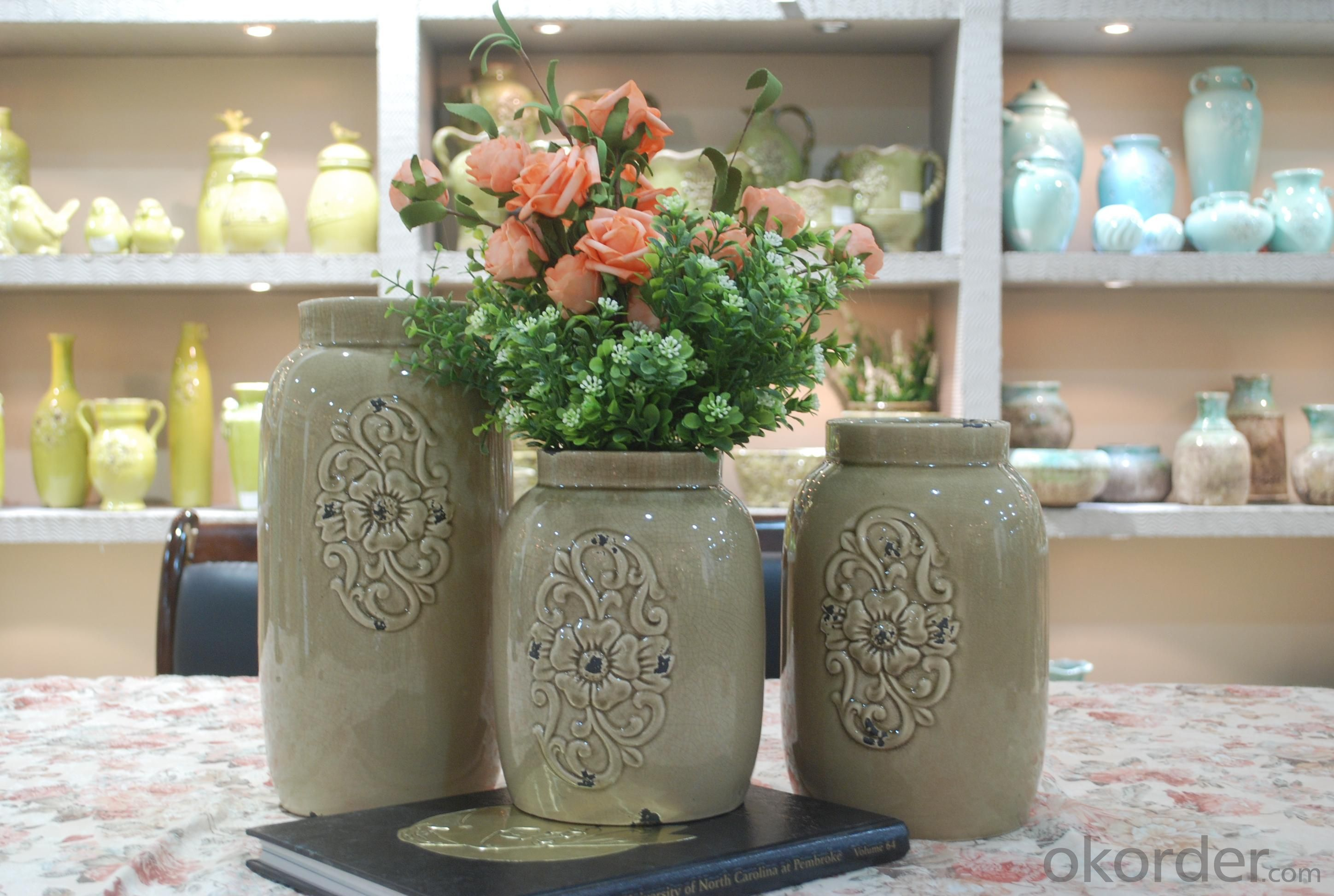 Hot Selling Fashion Home Décor Ceramic Cylindrical Shape Flower Vase L