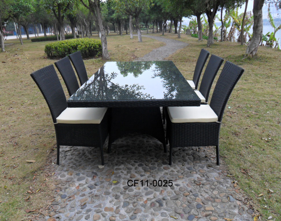 Rattan Simple Modern Outdoor Garden Furniture One Long Table Eight Chairs