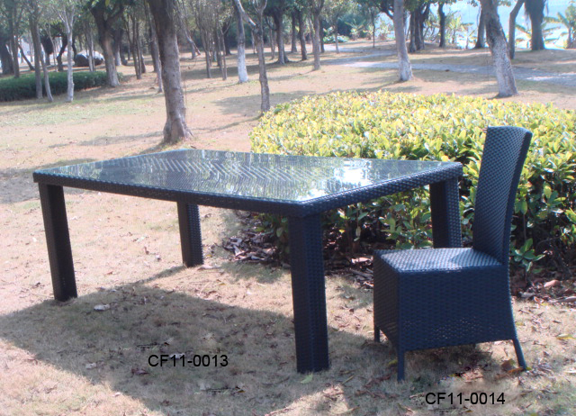 Rattan Modern Outdoor Garden Furniture One Table Eight Chairs