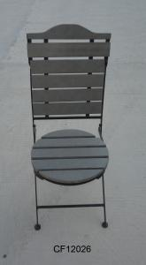 Outdoor Iron and Wood Plastic Board Round Folding Chair