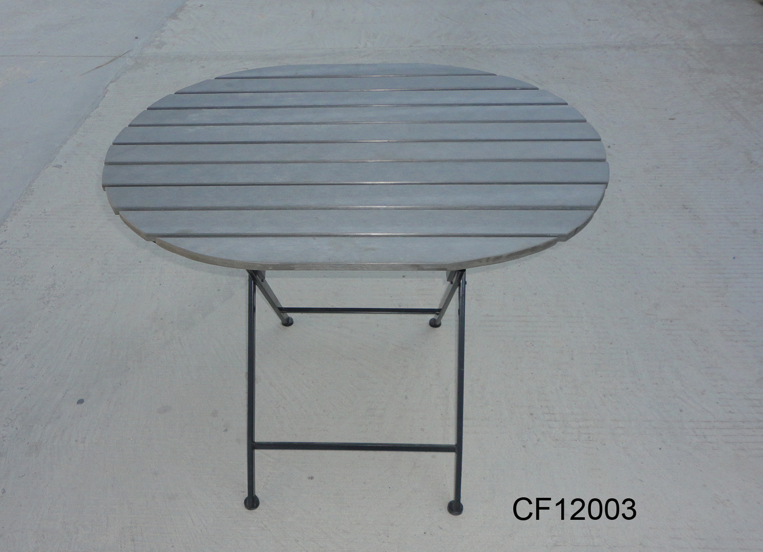 Classical Outdoor Iron and Wood Plastic Board Oval Table