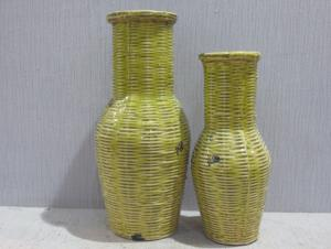 New Design Hot Selling Home Decorative Ceramic Weaving style Flower Vase L