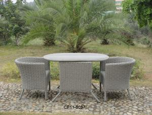 Classical Modern Leisure Rattan Outdoor Garden Furniture One Table Two Oval Chair