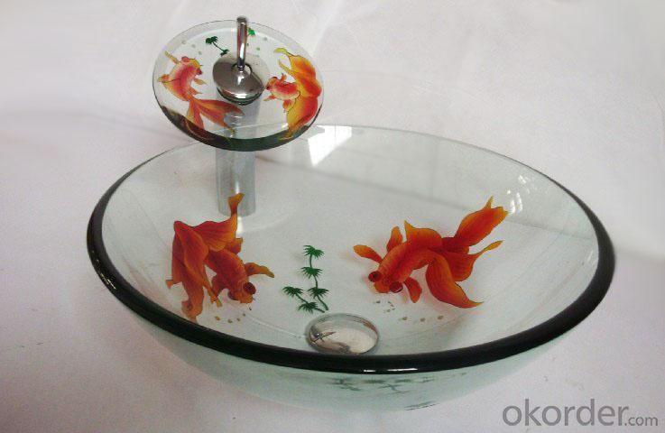 Hot Selling New Design Bathroom Product Tempered glass Flash Pattern Translucent Washbasin