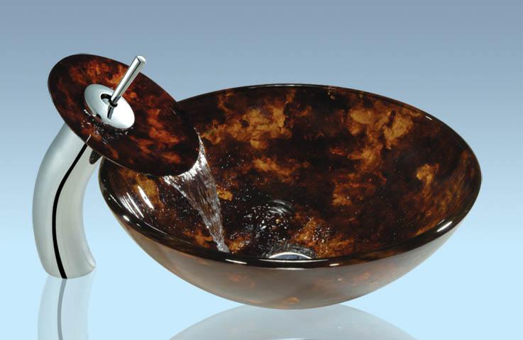 New Design Popular Tempered glass Bathroom Product Wash Basin Set