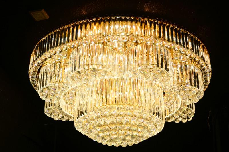 Crystal Ceiling Light Pendant Lights Classic Golden Ceiling Pendant Light 429PCS Light Ball Round D1200mm
