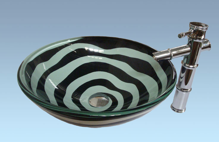 Hot Selling New Design Bathroom Product Tempered glass Zebra Stripes Washbasin Set