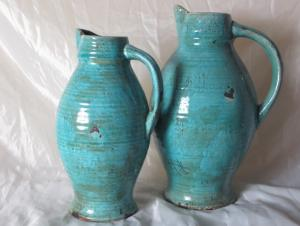 Hot Selling Fashion Home Decorative Ceramic With Handle Light Blue Flower Vase L