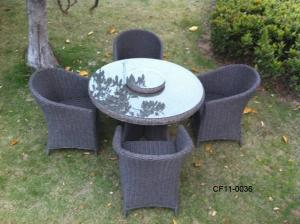 Classical Modern Leisure Rattan Outdoor Garden Furniture One Table Four Oval Chair