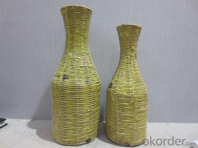 New Design Hot Selling Home Decorative Ceramic Light Color Weaving style Flower Vase L