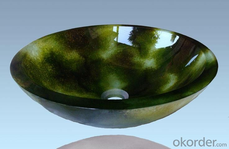 Hot Selling New Design Bathroom Product Tempered glass Dark Green Washbasin