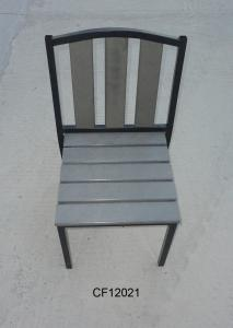 Outdoor Iron and Wood Plastic Board Square Chair
