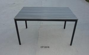 Outdoor Iron and Wood Plastic Board Rectangle Table