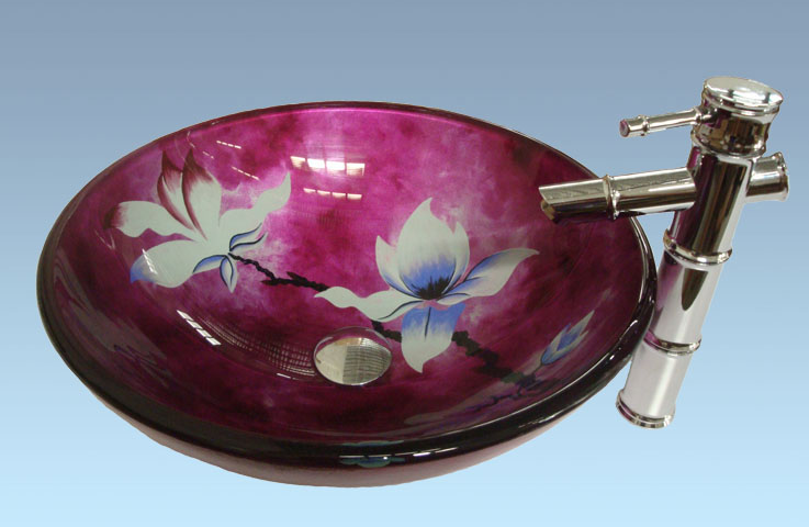 Hot Selling New Design Bathroom Product Tempered glass Flower Pattern Washbasin Set