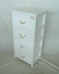 Home Storage Cabinet White-Painted Paulownia Wood With 4 Cotton Handle Drawers