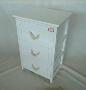 Home Storage Cabinet White-Painted Paulownia Wood With 3 Cotton Handle Drawers