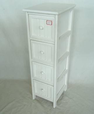 Home Storage Cabinet White Water-Painting Paulownia Wood With 4 Round Zipper Drawers