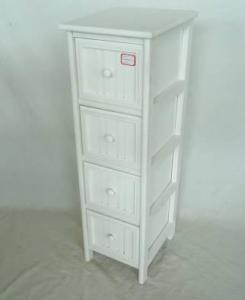 Home Storage Cabinet White Water-Painting Paulownia Wood With 4 Round Zipper Drawers