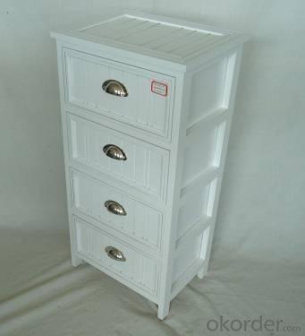 Home Storage Cabinet White-Painted Paulownia Wood With 4 Hemispherical Zipper  Drawers