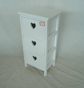 Home Storage Cabinet White-Painted Paulownia Wood With 3 Heart-shaped Drawers
