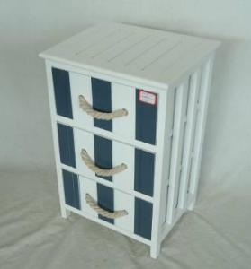 Home Storage Cabinet White-Painted Paulownia Wood With 3 Two-Tone Drawers With Cotton Handles