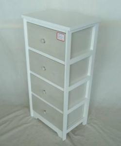 Home Storage Cabinet White Paulownia Wood Frame With 4 Wahsed -Grey Drawers