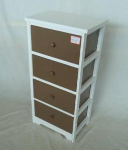 Home Storage Cabinet White Paulownia Wood Frame With 4 Painting Grey Color Drawers