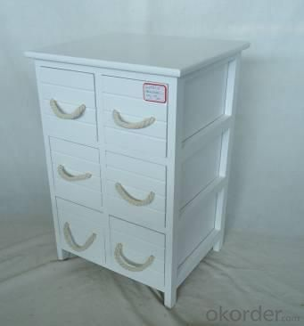 Home Storage Cabinet White Paulownia Wood Frame With 6 Wooden Drawers