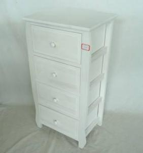 Home Storage Cabinet Washed-White Paulownia Wood Cabinet With 4 Drawers