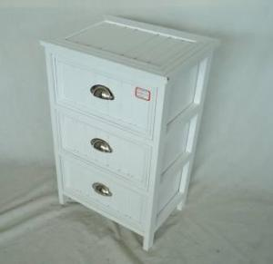 Home Storage Cabinet White-Painted Paulownia Wood With 3 Hemispherical Zipper Drawers